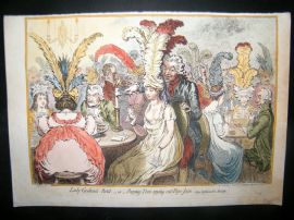 James Gillray 1851 Folio HC Print. Lady Godina's Rant. Cards Gambling Caricature